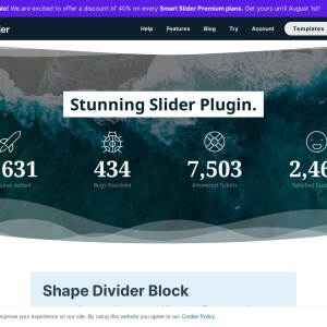 Shape Divider Block — Smart Slider 3 — WordPress Plugin
