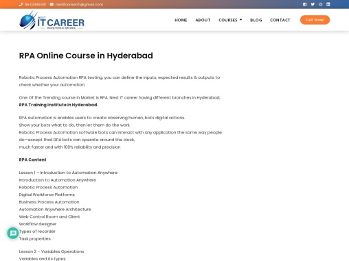RPA Online Course in Hyderabad – Next IT Career