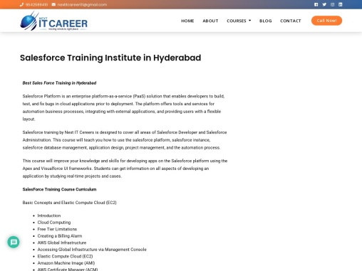 Salesforce Online Training Institute in Hyderabad | Next IT Career