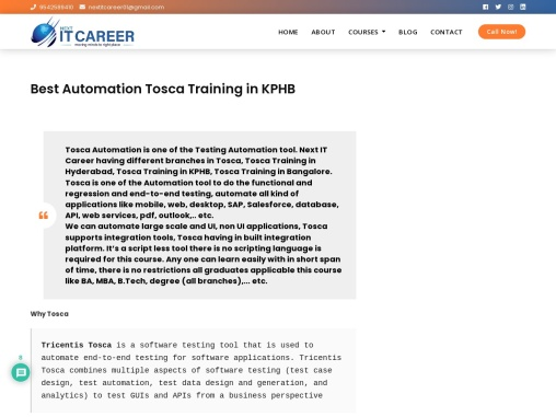 Best Tosca Automation Training Institute in Hyderabad
