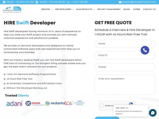 Hire Swift Developers   Swift Programmers   Swift App Developer