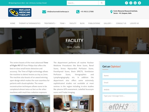 Facilities available at Nuclear Medicine Therapy Centre in FMRI Gurgaon, India