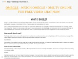 Omegle – Watch Omegle / Ome.tv Online Fun Free Video