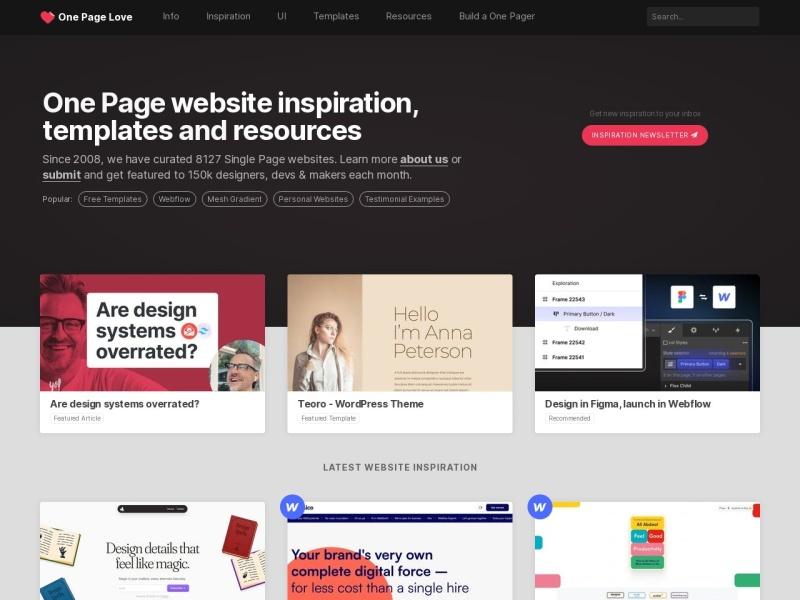 One Page Love | ランディングページの参考になる【海外】デザイン集サイト