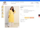 Buy Hand Embroidered Lucknowi Chikan Yellow Silk Kurti :: onlinechikan