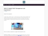 What is supply chain management and importance ?