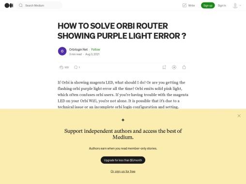 steps to fix Orbi Router Showing Purple light error