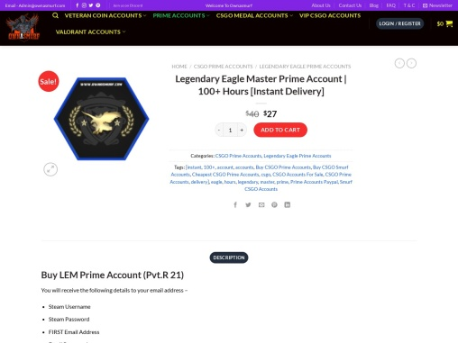 Buy CSGO Legendary Eagle Master Prime Account from OwnASmurf