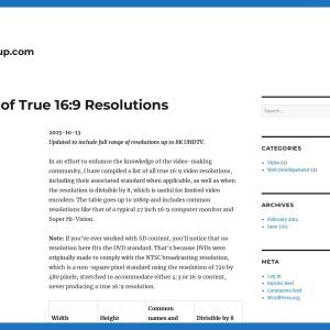 List of True 16:9 Resolutions – Pacoup.com