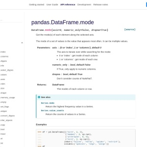 pandas.DataFrame.mode — pandas 1.1.0 documentation