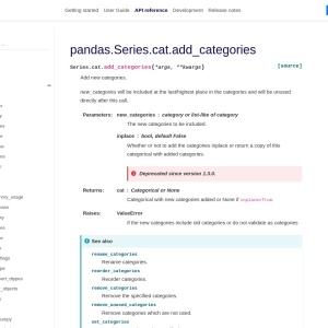 pandas.Series.cat.add_categories — pandas 1.1.0 documentation