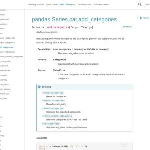 pandas.Series.cat.add_categories — pandas 1.2.0 documentation