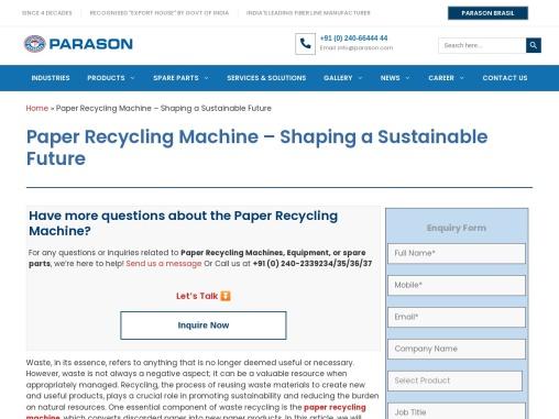 Pressurized HeadBox – Excellent Results   Parason