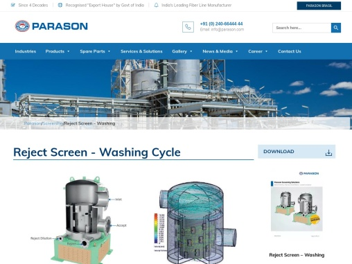 Reject Screen For Best Quality Pulp Machine | Parason