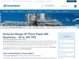 Top Rated Tissue Paper Mill Machinery Capacity 30 – 100 TPD | Parason