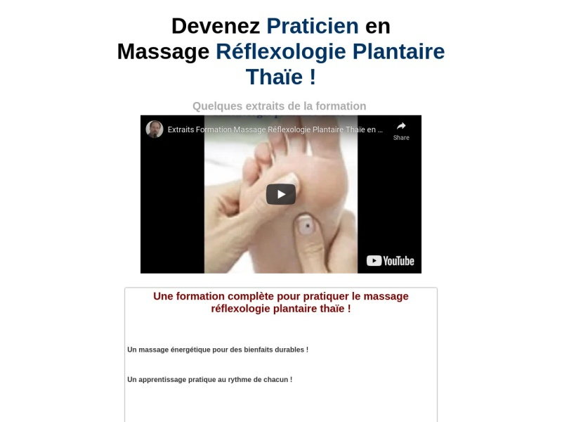formation massage reflexologie plantaire thaie