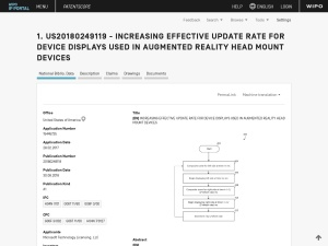 US20180249119 INCREASING EFFECTIVE UPDATE RATE FOR DEVICE DISPLAYS USED IN AUGMENTED REALITY HEAD MOUNT DEVICES