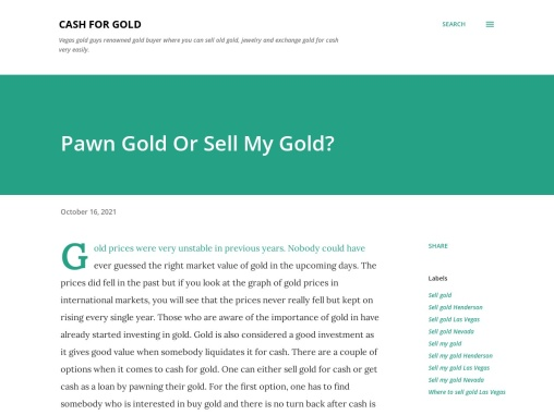 Should I Pawn My Gold Or Sell My Gold?