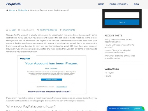 How to unfreeze a frozen PayPal account?