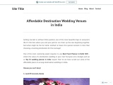 Affordable Destination Wedding Venues in India