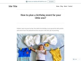 How to plan a birthday event for your little one?