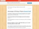 Advantages of Hiring a Filipino Remote Staff