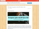 The beginners guide to find OPT jobs in USA!