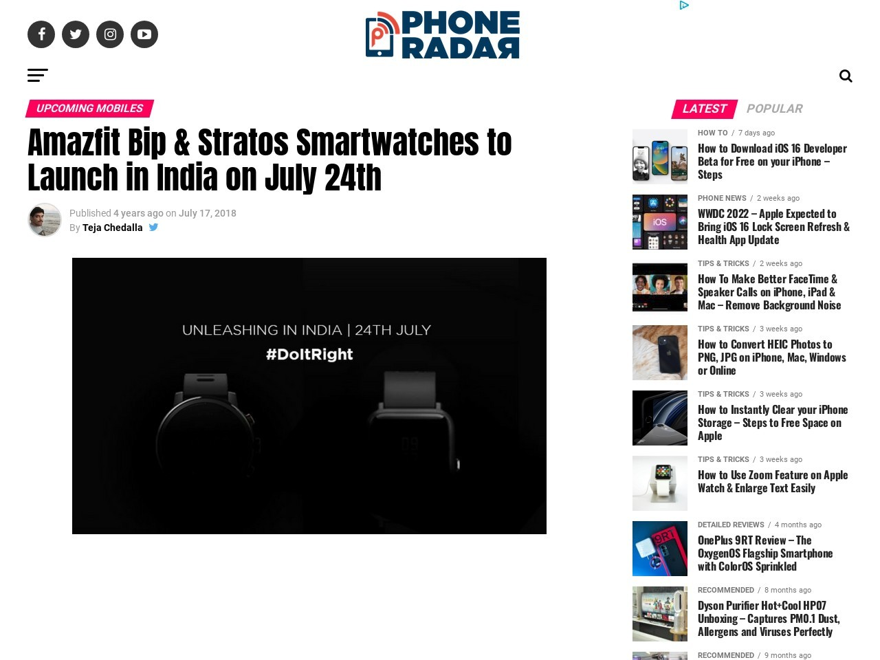 Amazfit Bip & Stratos Smartwatches to Launch in India on July 24th