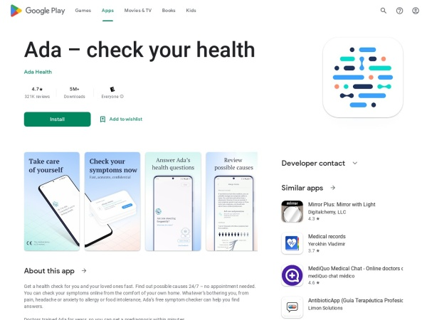 Ada- Your Health Guide - 12 Best AI Apps For Android 2020 – That You Must Try
