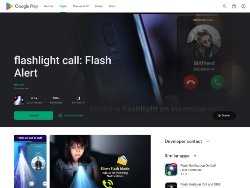 Flash alert, Flash on Call and SMS