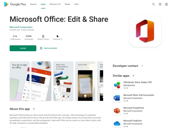 MS office - 15 Best Office App for Android and iOS (2020)