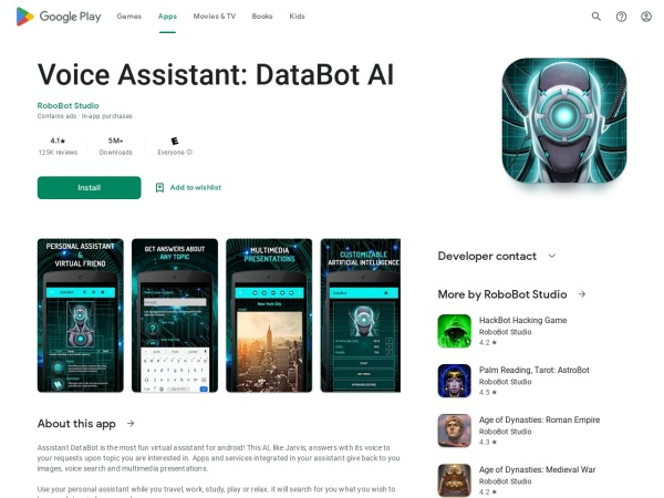 Virtual Assistant DataBot - 12 Best AI Apps For Android 2020 – That You Must Try
