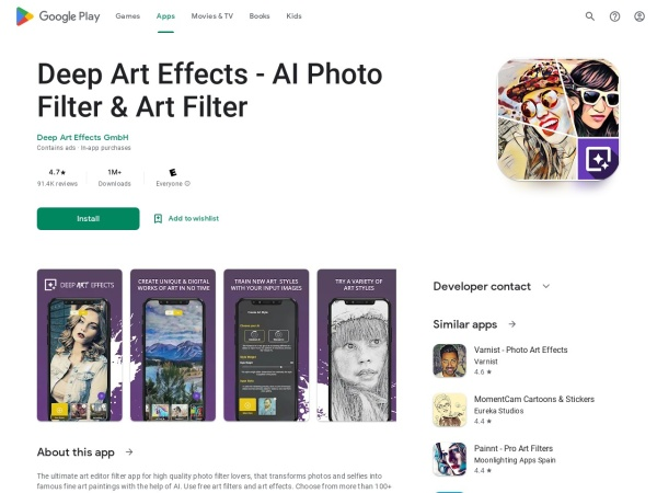 Deep art effects - 12 Best AI Apps For Android 2020 – That You Must Try