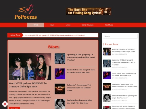 Top Music Songs Lyrics, News and Reviews – PoPoems
