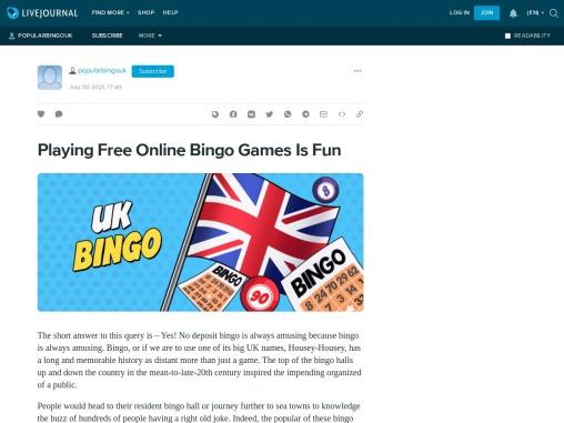 Playing Free Online Bingo Games Is Fun