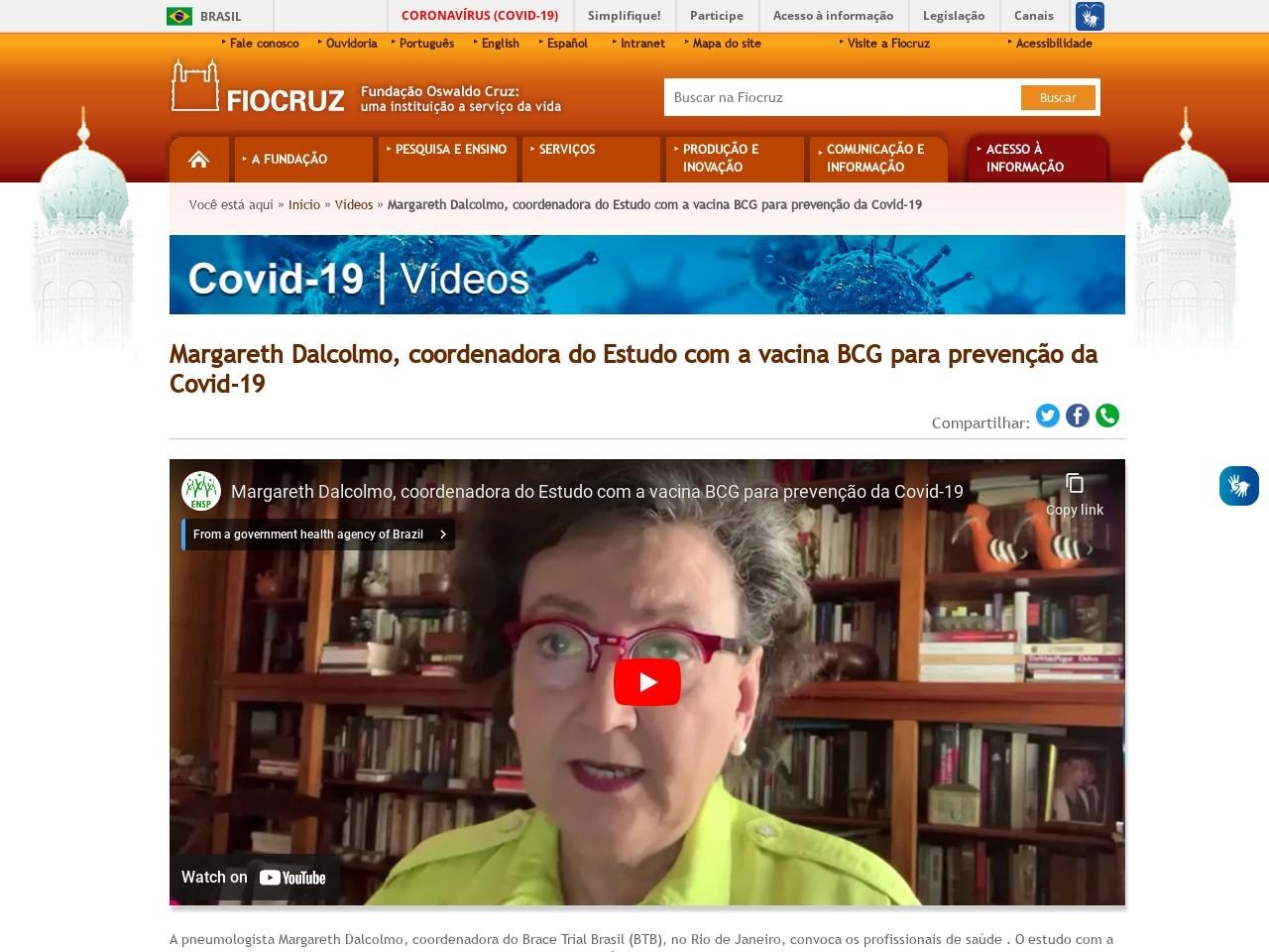 Margareth Dalcolmo, coordenadora do Estudo com a vacina BCG para prevenção da Covid-19