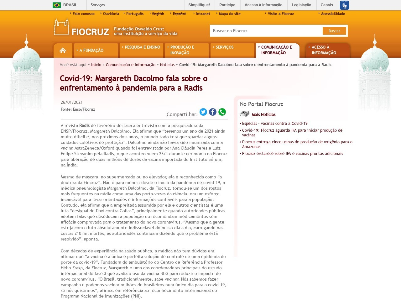 Covid-19: Margareth Dacolmo fala sobre o enfrentamento à pandemia para a Radis - Defesa