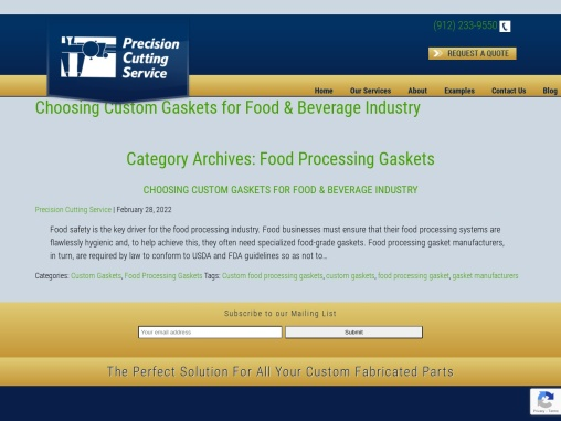 Food Processing Gaskets | FDA Approved Food Processing Gasket