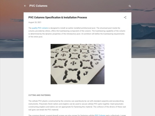 PVC Columns Specification & Installation Process