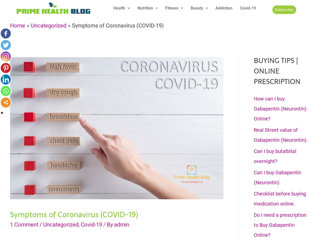 Symptoms of Coronavirus (COVID-19)