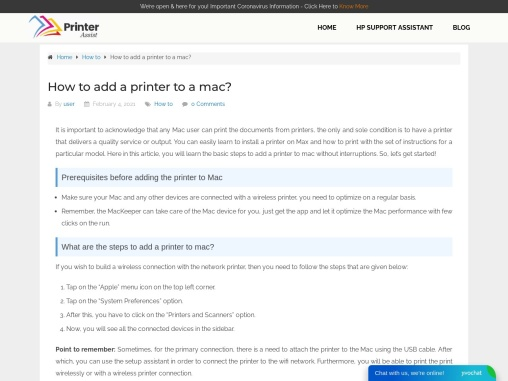 How to add a printer to a mac?
