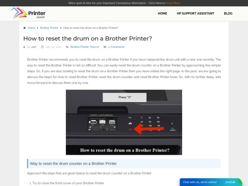How to reset the drum on a Brother Printer
