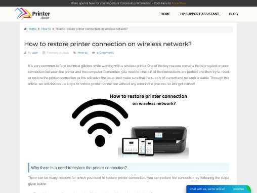 How to restore printer connection on wireless network?