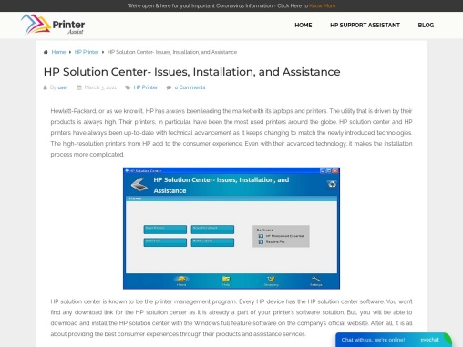 HP Solution Center- Issues, Installation, and Assistance