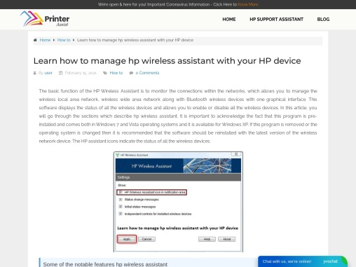 Learn how to manage hp wireless assistant with your HP device
