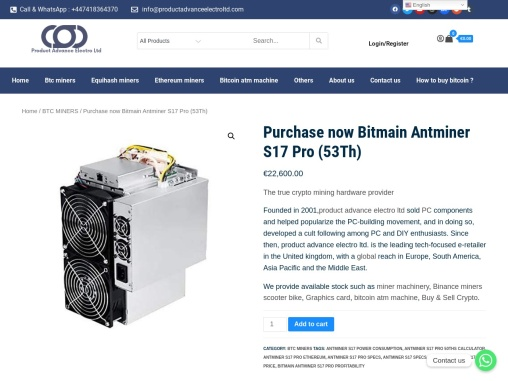 Purchase now Bitmain Antminer S17 Pro (53Th)