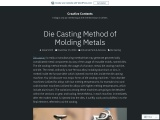 Die Casting Method of Molding Metals