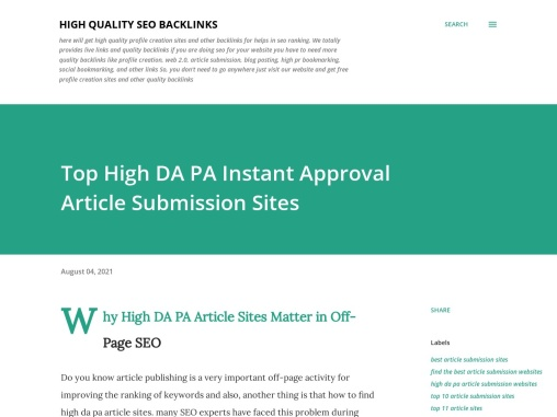 Top High DA PA Instant Approval Article Submission Sites