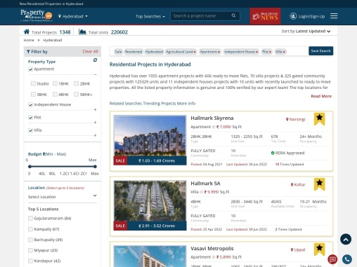 Looking for Residential Property Investment | Choose from 1000+ projects in Hyderabad