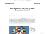 Is the Psychometric Test is Best to Select a Candidate for a Position?